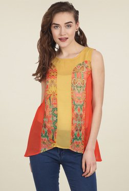 Soie Red & Mustard Printed Sleeveless Top