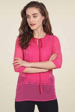 Soie Pink 3/4th Sleeves Top