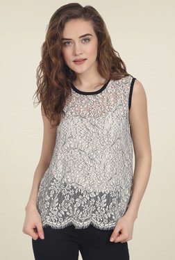 Soie Off-White Sleeveless Lace Top