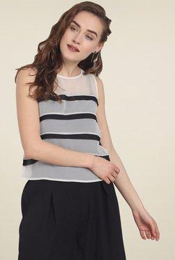 Soie Off-White Striped Sleeveless Top