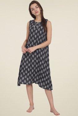 Soie Black Printed Night Dress