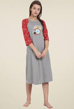 Soie Grey Round Neck Printed Night Dress