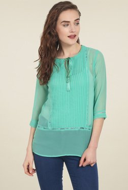 Soie Dark Green Regular Fit Top