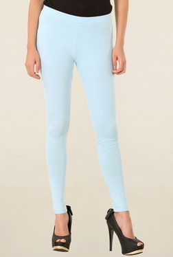 W Light Blue Solid Tights