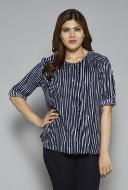 Gia By Westside Navy Eve Striped Blouse
