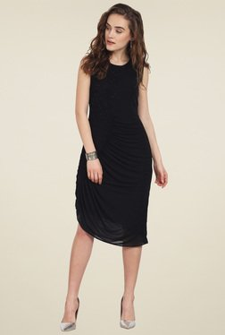 Soie Black Slim Fit Knee Length Dress