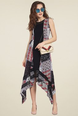 Soie Black Printed Regular Fit Midi Dress