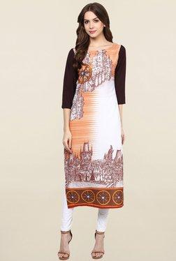 Ziyaa White & Orange Printed Crepe Kurta