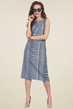 Soie Blue Printed Slim Fit Knee Length Dress