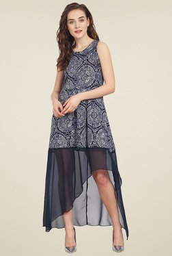 Soie Navy Printed Sleeveless Maxi Dress