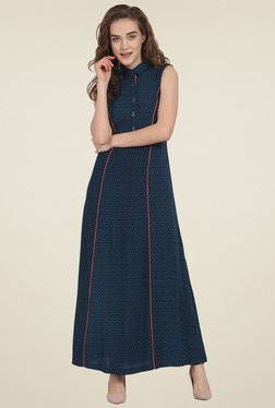Soie Dark Blue Printed Sleeveless Maxi Dress