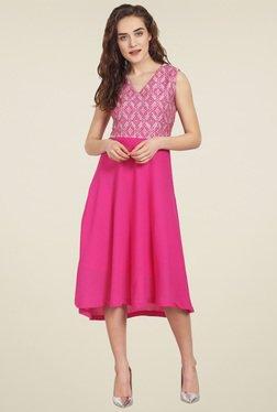 Soie Dark Pink V Neck Midi Dress
