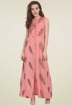 Soie Pink Embroidered Sleeveless Maxi Dress