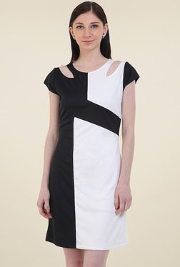 Instacrush Black & White Cap Sleeves Dress