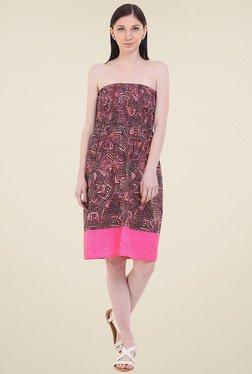 Instacrush Pink & Black Strapless Dress