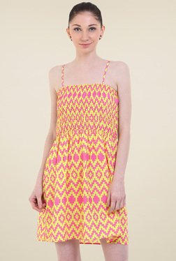 Instacrush Pink & Yellow Square Neck Dress