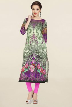 Ziyaa Green & Purple Printed Cotton Kurta
