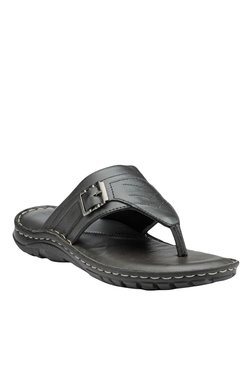 Teakwood Leathers Black Thong Sandals - Mp000000001341508
