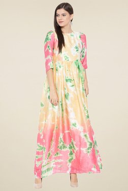 Aujjessa Multicolor Round Neck Maxi Dress