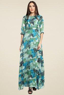 Aujjessa Green 3/4th Sleeves Maxi Dress