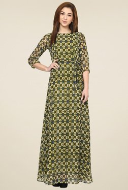 Aujjessa Olive Boat Neck Maxi Dress