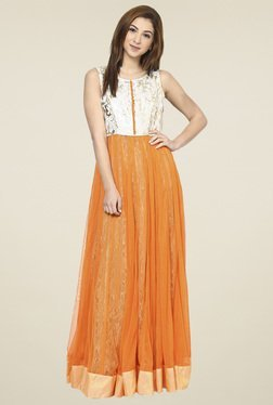 Aujjessa Orange Round Neck Maxi Dress