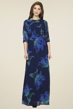 Aujjessa Navy Boat Neck Maxi Dress