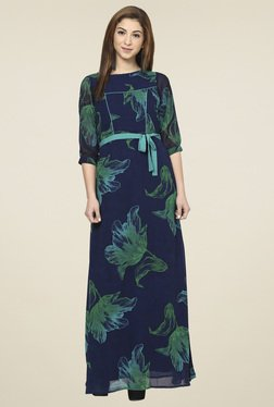 Aujjessa Navy & Green Boat Neck Maxi Dress