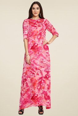 Aujjessa Pink Round Neck Maxi Dress