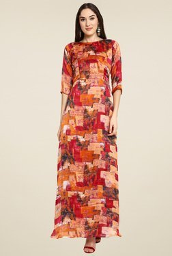 Aujjessa Red & Rust Printed Maxi Dress