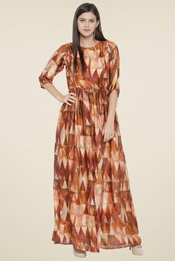 Aujjessa Rust Printed Round Neck Maxi Dress