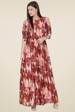 Aujjessa Peach Printed Round Neck Maxi Dress