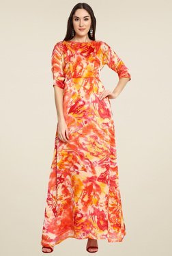 Aujjessa Coral Round Neck Maxi Dress