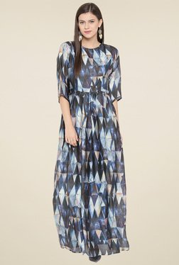 Aujjessa Blue Printed Round Neck Maxi Dress