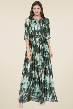 Aujjessa Green Printed Round Neck Maxi Dress