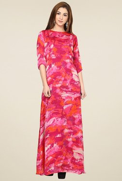 Aujjessa Fuchsia Boat Neck Maxi Dress
