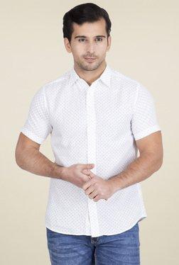 Red Tape White Regular Fit Printed Shirt