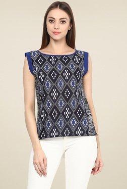 Jaipur Kurti Black & Blue Cotton Top