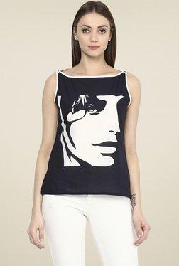 Jaipur Kurti Black & White Printed Top