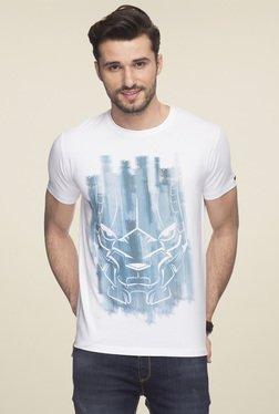 Status Quo Baahubali White Round Neck Printed T-Shirt