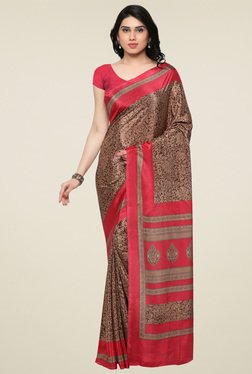 Triveni Brown & Dark Pink Printed Saree