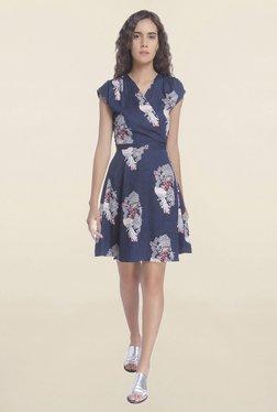 Vero Moda Navy Printed Wrap Dress