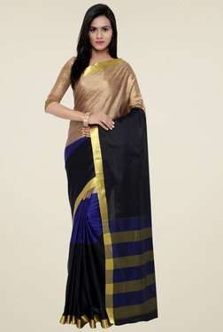 Triveni Beige & Royal Blue Art Silk Saree