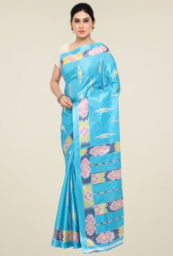 Triveni Sky Blue Printed Silk Saree