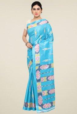 Triveni Sky Blue Printed Silk Saree