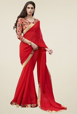 Triveni Red Printed Saree With Blouse