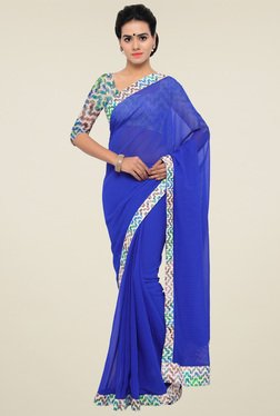 Triveni Royal Blue Printed Saree With Blouse