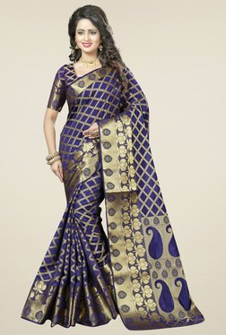 Triveni Purple Printed Saree With Blouse