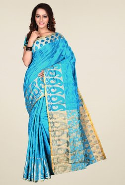 Triveni Sky Blue Printed Saree