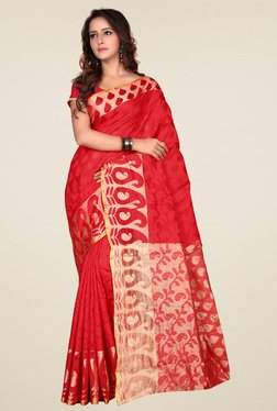 Triveni Red & Cream Printed Art Silk Saree